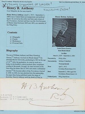 Henry B. Anthony Rhode Island Governor Antique Autograph Signature
