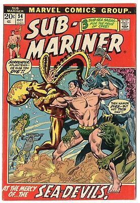 Sub-Mariner #54 VF+ 8.5 ow/white pages  Marvel  1972  No Reserve