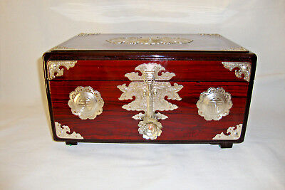 Vintage Chinese Rosewood and Nickle Silver Wood Jewelry Box, Dresser Box