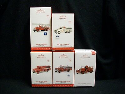 Hallmark Fire Truck Christmas Ornaments set of 5.