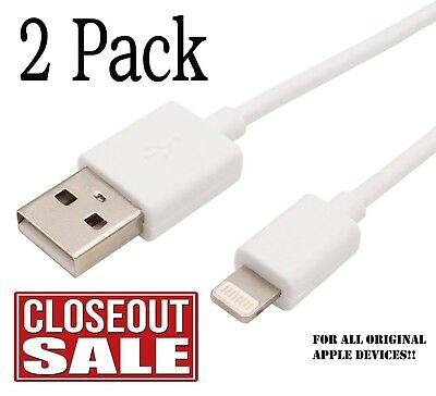2x USB Cable Charger For Apple OEM Lightning Original iPhone 4 5 6 7 8 x