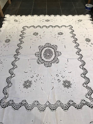 Vintage Hand Embroidered Cutwork Lace White Linen Tablecloth 85 x 67 Inches