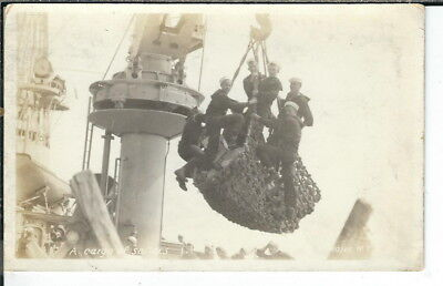 CF-225 WW2 WWII A Cargo Net of Sailors Navy Real Photo Postcard RPPC AZO