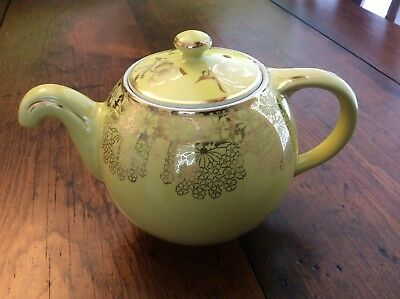 Hall China Standard Gold Globe Shape 6 cup Dripless Tea Pot, Canary Yellow