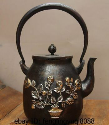 Archaic Japan Iron Silver Gilt Rose Flower Butterfly Flagon Kettle Wine Tea Pot