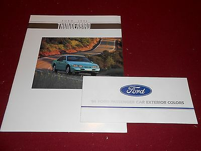 1994 FORD THUNDERBIRD 20 p. CATALOG + ORIG. PAINT COLOR CHIPS BROCHURE 2 for 1