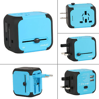 Universal Travel AC Power Charger Adapter Plug 2 USB Port AU UK US EU CA DE