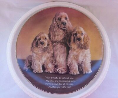 "DANBURY MINT PLATE Cherished COCKER SPANIELS ""Loyal and Precious"" E5857 -  9 in"