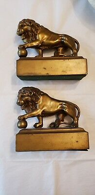 Bronze lion with ball  bookends den decor heavy library