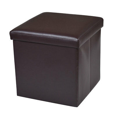Leather Ottoman Cube Footrest Storage Stool Box Pouffe Footstool Furniture