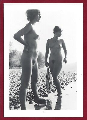 1940's Vintage Nude Photo~2 Perky Breasts Curvy Body Hairy Bush Pinups Outside