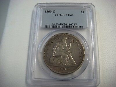 1860 O Seated Liberty Dollar Pcgs Xf40 Sharp