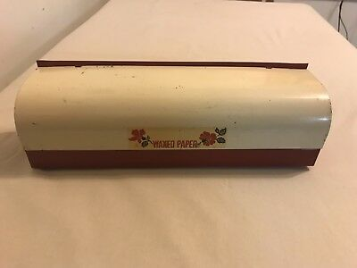 Hall China Red Poppy Tin Metal Wax Paper Dispenser Waxed Vintage