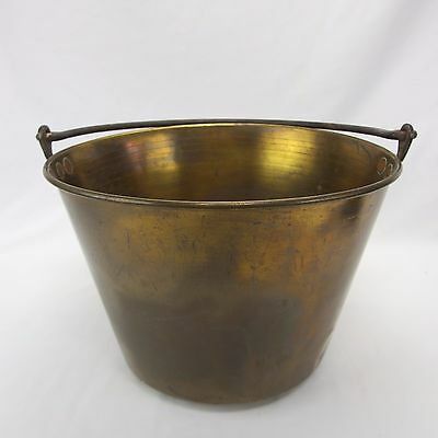 Antique Brass Pail Bucket Kettle Hand Forged Steel Handle Primitive