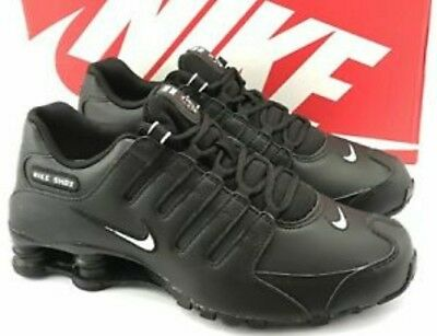 NIKE SHOX NZ Size 10 Black leather White swoosh logo Size -  129.99 ... 8283f263b