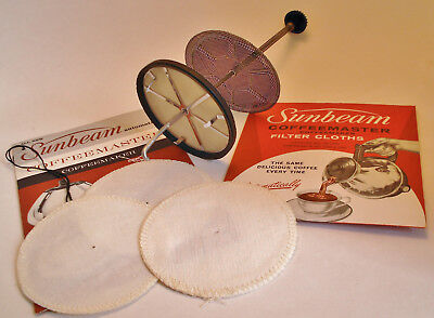 1960's Sunbeam Coffeemaster C50 Stainless Steel & Cloth Filters, Instructions