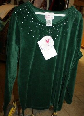 New with tags Quacker Factory Large Forest Green top