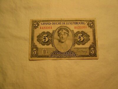 Luxembourg 5 Francs  Wwii  World Currency Banknote Money