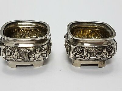 2 antique chinese export silver Salars Wang Hing & Co Hong Kong ~ 1900 Salieren