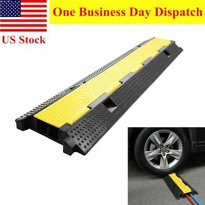 Heavy Duty Cable & Hose Protector 2-Channel Rubber PVC Speed Bump Road Ramp