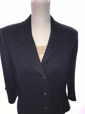 St John Collection By Marie Gray Knit Blazer Jacket Black & Jeweled Camisole S12