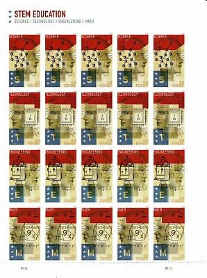 ONE SHEET OF US STEM EDUCATION USPS FIRST CLASS FOREVER POSTAGE STAMPS / Damaged