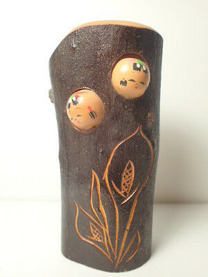 Rare pen stand with kokeshi face in it (min046)