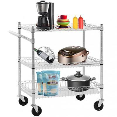 Heavy Duty Utility Cart Wire 3 Tier Rolling Cart Organizer NSF Kitchen Cart