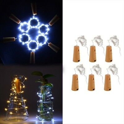 1/6x 20 LEDs Light Cork Bottle Stopper Night Light Lamp Bottle Plug with Switch