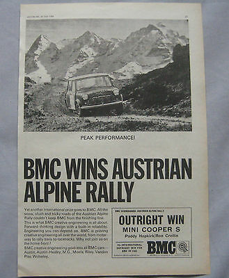1966 BMC Mini Cooper S Original advert No.1