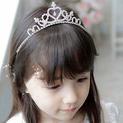 Crystal Rhinestone Tiara Hair Band Kid Girl Bridal Princess Prom Crown Headband
