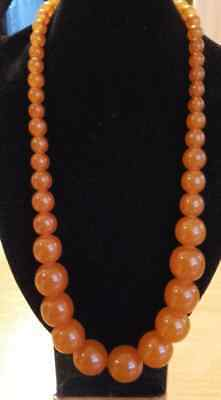 Impressive Vintage 65g  Baltic Amber Necklace RUSSIAN, Perfect Round beads