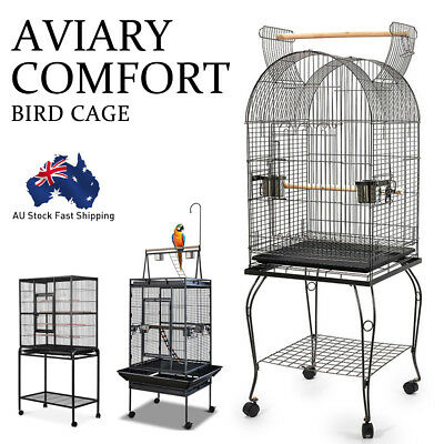 Bird Cage Parrot Aviary Pet Stand-alone Budgie Perch Wheels Castor Large AU