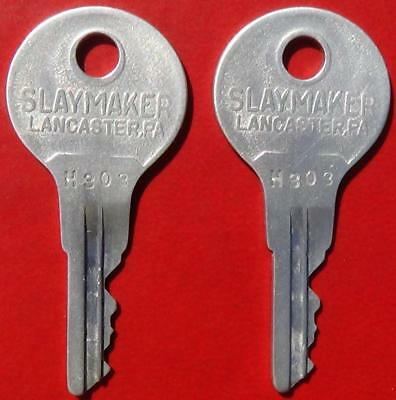 Pair of Antique Slaymaker Keys with Matching Numbers Stamped H303