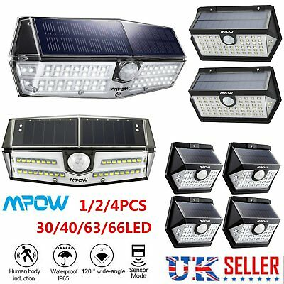 Mpow All new Solar Panel LED Lights Motion Sensor Security Waterproof Wall Lamp