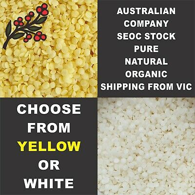 Australian Company SEOC's Cosmetic Grade Beeswax Pellets Yellow or White Natural