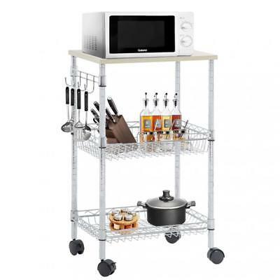 Utility Cart Wire 3 Tier Rolling Cart Organizer NSF Kitchen Cart on Wheels Metal