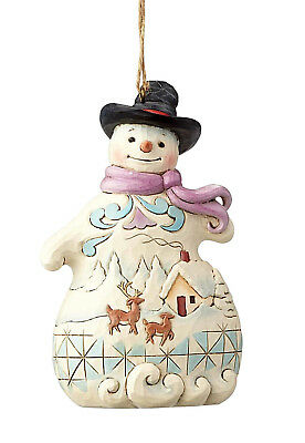Jim Shore*SNOWMAN with SNOW SCENE ORNAMENT*New 2018*NIB*Deer*CHRISTMAS*6001514