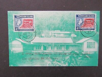 PITCAIRN ISLAND - 1958 4d DEFIN  ILL FIRST DAY POSTCARD - DATE ERROR - CORRECTED