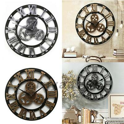 12'' Indoor Outdoor Garden Wall Clock Big Roman Numerals Giant Open Face Wooden