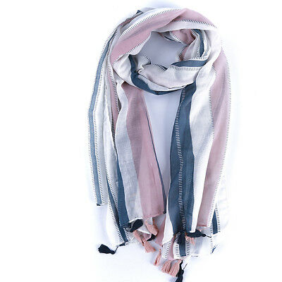 Women Long Pink Striped Soft Cotton and Linen Tassels Scarf Wrap Shawl 8C