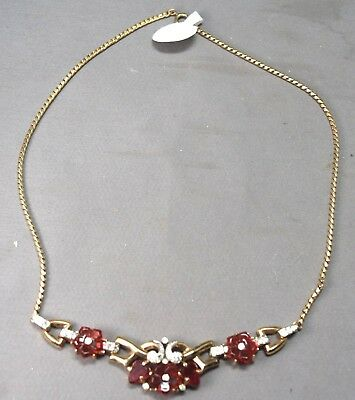 Alfred Philippe Crown Trifari Ruby Red Molded Fruit Salad Stone Necklace