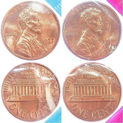 1977 P D Lincoln Memorial Cent BU US Mint Cello 2 Coin Penny Set