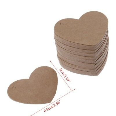100pcs Heart Kraft Paper Hang Tags Wedding Party Favor Label Price Gift Card