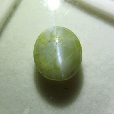 Lab Cert 5.9 Ct Natural Chrysoberyl Cats Eye Greenish Ceylon 4 Ketu Dragon Tail