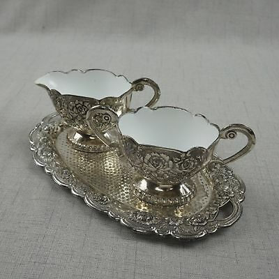 Vintage Eales 1779 Sugar Bowl and Creamer with Tray Silver Plated Porcelain