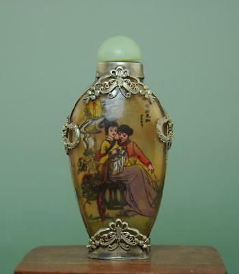 Collect China painting beautiful woman glass Carved jade lid Snuff bottle 01 b01