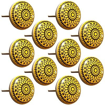 Door Knobs Hand Painted Yellow Pull Design Cupboard Ceramic Knobs Drawer 1 Pair