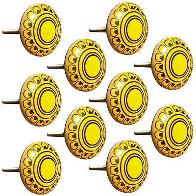 Door Knobs Hand Painted Yellow Design Pull Cupboard Ceramic Knobs Drawer 1 Pair
