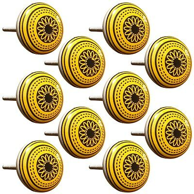 Door Knobs Hand Painted Yellow Floral Pull Cupboard Ceramic Knobs Drawer 1 Pair